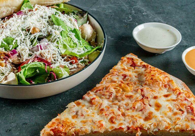 עסקית פיצה משולש + סלט ירקות + לחם שום